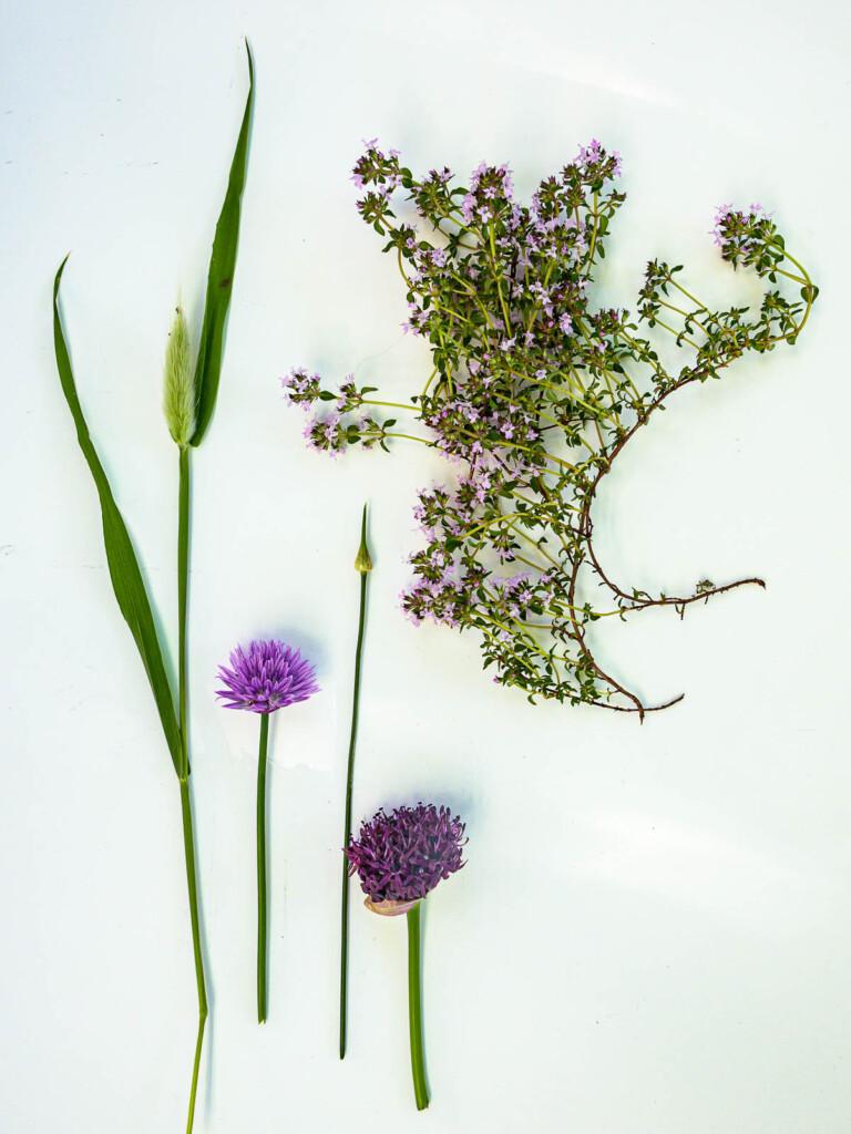 Växter till en krans.